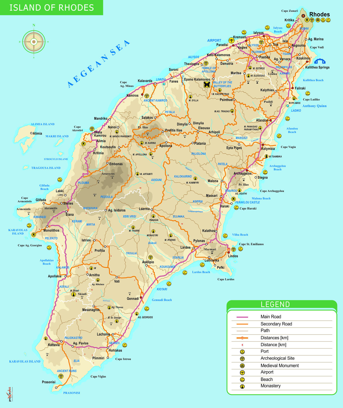 Rhodes tourism info web sites – Greece Tourist Attractions Map
